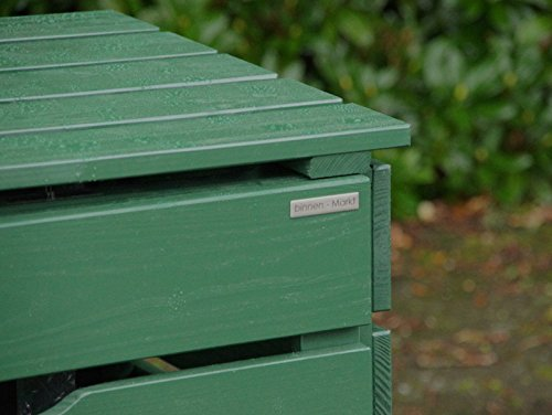 3er Mülltonnenbox / Mülltonnenverkleidung 120 L Holz, Deckend Geölt Tannengrün - 3