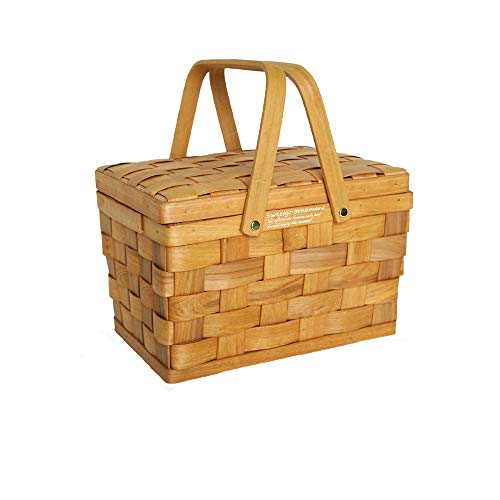 chen Picnic Basket with Lid, Natural Eco Friendly Woven Woodchip Basket with Strong Wooden Folding Handles, for Storage Picnic Outing