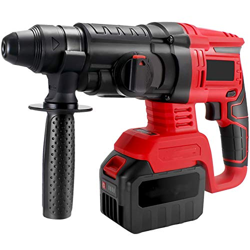 Lightweight Hammer Drill, 6200RPM Electric Drill SDS Quick Chuck 3 Functions in 1 Hammer Drill 360 ° Rotating Handle Forward And Reverse,A,2 battery