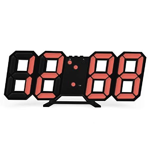 ANYIKE Reloj Despertador Digital 3D LED, función de repetición en el Dormitorio, Reloj Despertador para Colgar en la Pared, Calendario, termómetro para decoración del hogar