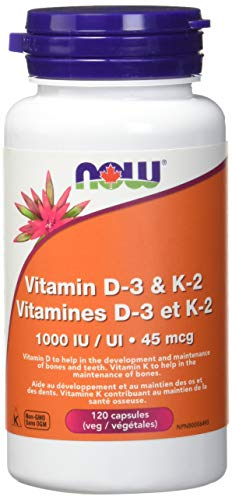 Now Vitamin D3 and K2, 120 Veg Capsules