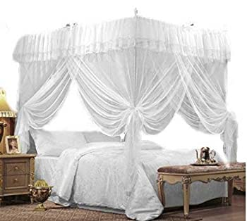 JOYLIFE 4 Corners Post Curtain Bed Canopy Bed Frame Canopies Net,Bedroom Decoration Accessories  Full/Queen