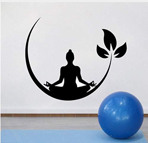 Yoga Meditación Vinilo Pegatinas De Pared Zen Budista Tatuajes De Pared Para Dormitorio Etiqueta De La Pared Removible Decoración Yoga Wallpaper 43X52Cm