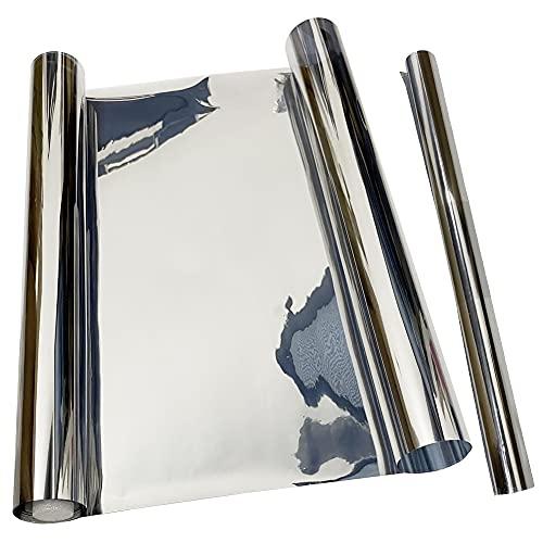 Lámina reflectante para ventana,Vinilo Ventana Cristal Protector Solar Lámina Privacidad de Una Manera Espejo Película Adhesiva de Gran Reflexión Anti 99% UV(Plata, 40x300cm)
