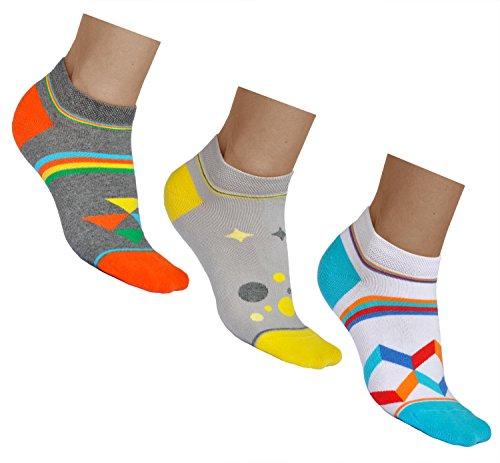 vitsocks kurze Bunte Sneaker Socken für Damen mit Muster (3x PACK) aus BAUMWOLLE, in grau weiß & mehrfarbig, JOY, 35-38
