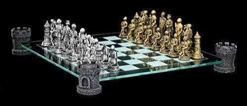 Ritter Schachspiel auf Burgturm - Schachfiguren Mittelalter Schach
