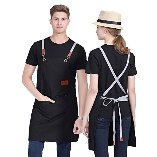 Caishenyeah Canvas Cotton BBQ Chefs Working Kitchen Aprons for Baking Womens Mens Dad Gilling Waitress Bars Aprons for Cooking Funny Couples with Tool Pockets Black,Cross-Back Straps Aprons 1PC