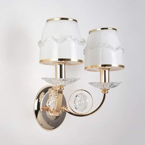 LGOO1 Moderna Decorazione Vetro Bianco Europeo doppio vetro della lampada della testa della parete del paralume in ferro battuto cristallo Comodino parete Illuminazione Moda creativa interna for Camer