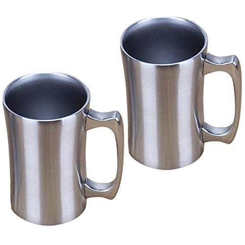 OrgMemory Kaffeetasse Groß, 2 Stück, Thermobecher mit Deckel, 450 ml, Kaffeebecher, Vakuum Isolierbecher aus Edelstahl für kalt und warm