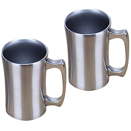 OrgMemory Taza de café Grande, 2 Unidades, Taza térmica con Tapa, 450 ml, Taza de café, Vaso de vacío de Acero Inoxidable para frío y Caliente