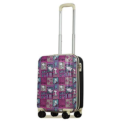 スヌーピー SNOOPY スーツケース プリント 機内持ち込み 小型 Sサイズ ピーナッツ PEANUTS 軽量 小型 おしゃれ TSA ハードキャリー キャリーケース (Sサイズ, ピンク)