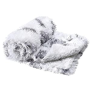 JOYFEEL Super Soft Dog Blanket for Small Dogs Pet Cats Puppy Snuggle Blankets Couch/Bed Covers, Fluffy Plush Faux Fur Reversible White Throw with Warm Paw Print Velvet & Sherpa