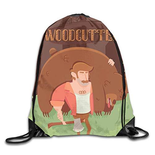 uykjuykj Tunnelzug Rucksäcke, Drawstring Bag Cartoon Wood Cutter Rucksack for Gym Hiking Travel Color 08 Lightweight Unique 17x14 IN