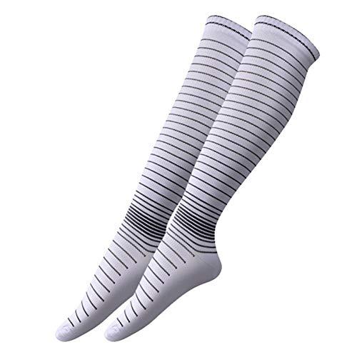 Hombres Calcetines Largos de Compresión Elástica Calzado Transpirable Antideslizante Tobillo Moda Calcetines Casuales (3 Pares) Blanco L/XL