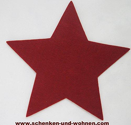 GILDE Filz Untersetzer Stern rot, ca. 20 cm (Länge zwischen Zwei Sternspitzen)