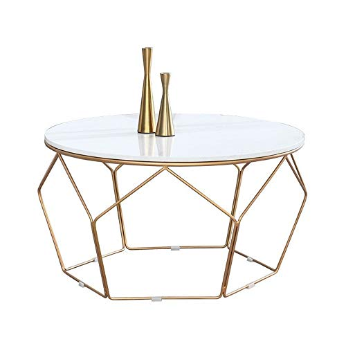 YGWE Side Table Living Room Round Iron Corner Table Office Simple Side Table Small Table Nordic Marble Coffee Table Home Modern Living Room Furniture (Color : White, Size : 60x60x45cm)