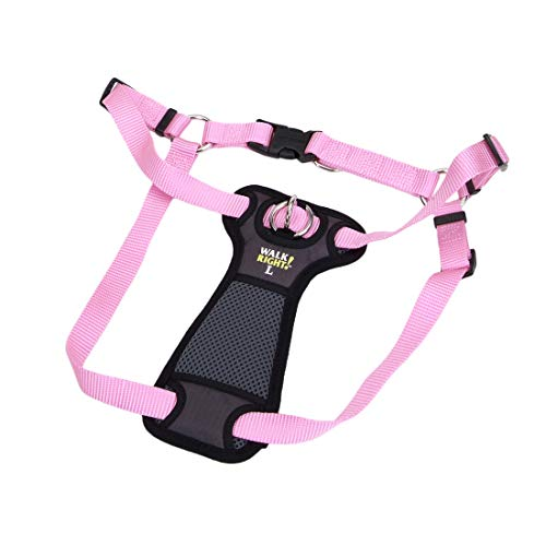Coastal Pet Walk Right! Front-Connect No More Pull Padded Dog Harness Pink Bright LRG (26