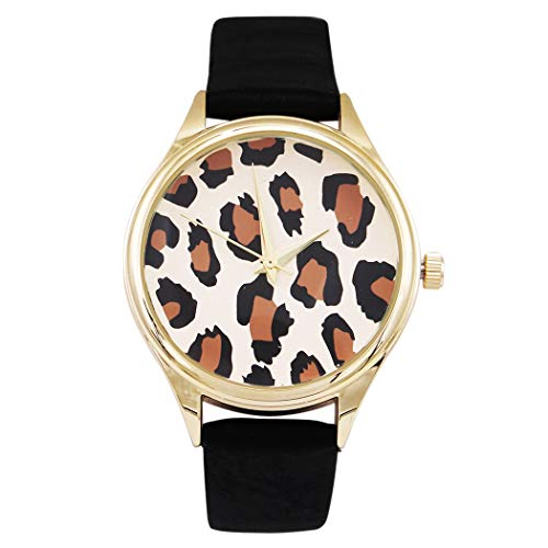 Rosemarie Collections Women's Leopard Face Print Wrist Watch Faux Black Leather Band Fashion Watch