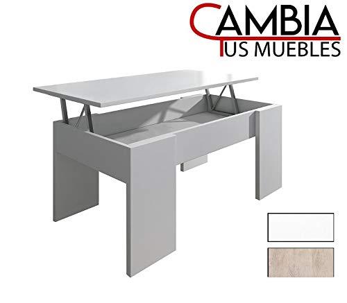 CAMBIA TUS MUEBLES - Mesa de Centro elevable para Comedor, salón PREMIER2, Color Roble, Mesa Auxiliar (Blanco)