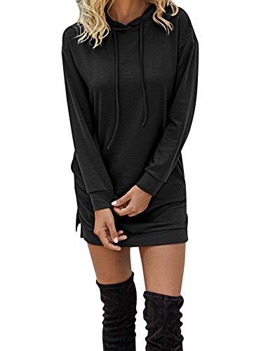 HenzWorld Sudaderas con Capucha para Mujer Vestidos de Manga Larga con Cordón Sudadera para Mujer Invierno Suelto Casual Suéter Largo (Negro Talla L)