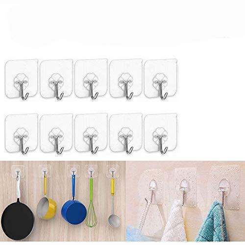 Ganchos adhesivos XUNKE de Xunke, extraíbles, sin rastro, tecnología más fuerte, gancho adhesivo sin costuras, apto para cocina, baño, recámara, oficina