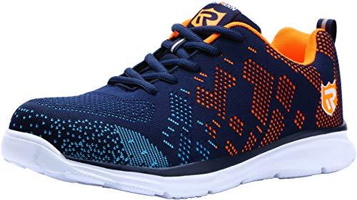 Zapatos de Seguridad Hombres, LM-112 Zapatillas de Trabajo con Punta de Acero Ultra Liviano Reflectivo Transpirable(42 EU,Azul/Naranja)