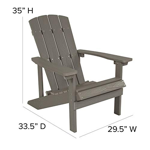Flash Furniture Charlestown All-Weather Adirondack Chair in Light Gray Faux Wood
