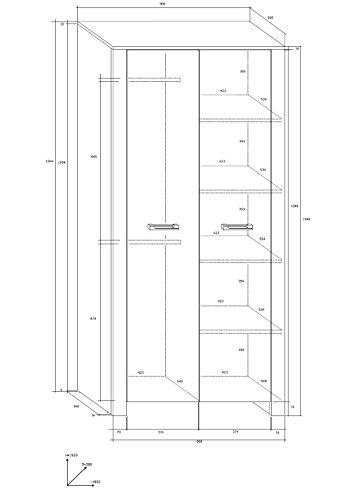 """Wohnzimmer Möbel Satz, TV Wohnwand """"HUGO IV"""" TV Bank, Display Einheit, Wandhängend Regal, 2T Kleiderschrank plus Kommode (2 Schubladen 2 Türen) und Aufklappbarer Kaffetisch. Eiche Sonoma Hell/Eiche Sonoma Dunkel. - 3"""