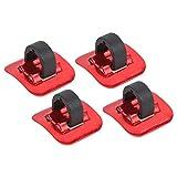 Keenso Grapas para Sujetar Cables de la Bici, 4 Piezas Abrazaderas de Cable de Freno de Bici(Rojo)