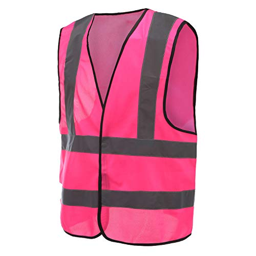 High Light Protective Workwear Vest, A-SAFETY, Safety Vest Reflective Velcro for Outdoor Works, Cycling, Jogging, Walking, Sports - Fits for Women Pink, M