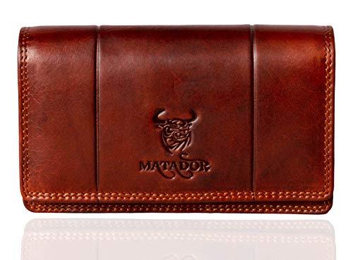 MATADOR Echt Leder Damen Geldbörse Frauen Langbörse RFID/NFC Schutz Wallet mit viele Kartenfächer Geldtasche (Vintage Braun)