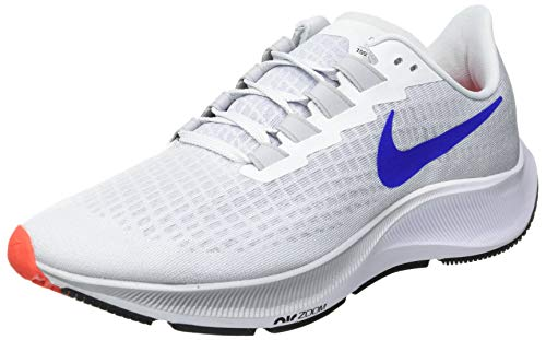Nike Men's AIR Zoom Pegasus 37 Running Shoe, Pure Platinum/Racer Blue-Wolf Grey-BRT Crimson-White-Black, 12 UK