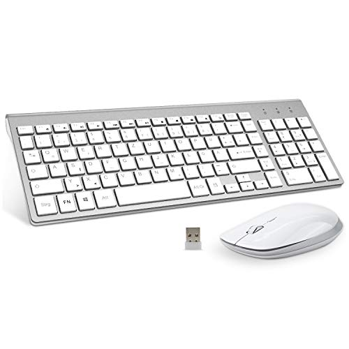 FENIFOX Tastatur Und Maus Set Kabellos, USB QWERTZ SlimTastatur Maus Set Kabellos, USB QWERTZ Slim Tastatur 2.4G Wireless für PC Computer Laptop Smart TV Windows-Silber und Weiß