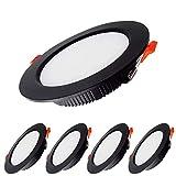 Paquete de 5 Luces LED para Empotrar en el Techo, 7W Downlight Equivalente a 70W,7000LM Blanco Frío 6000K AC 220-240V,Recorte 80-90mm, IP44 Foco de Techo Ultraplano para Dormitorio,Baño,Cocina (Negro)