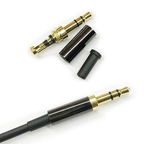 KetDirect Goldener, 3-poliger Löt-Stecker, 3,5mm, Reparatur für Kopfhörer, Klinkenstecker, Metall, Audio, Kopfhöreranschluss, schwarz, 2 Stück