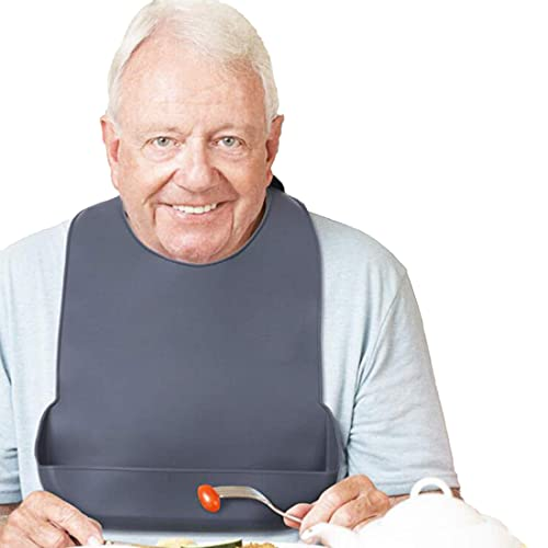 1 paquete de babero lavable de silicona para adultos con bolsillo, impermeable, protector de ropa, delantal reutilizable, recolector de migas para comer, para personas mayores(43cm*27cm)