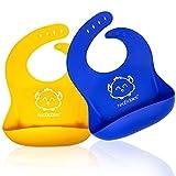 Bebé Baberos De silicona - Babero de Silicona Impermeable y Fácil de limpiar para Bebés - Baberos de Alimentación para Bebés con Bolsillo Grande para Recolector de Alimentos (Funtastic)