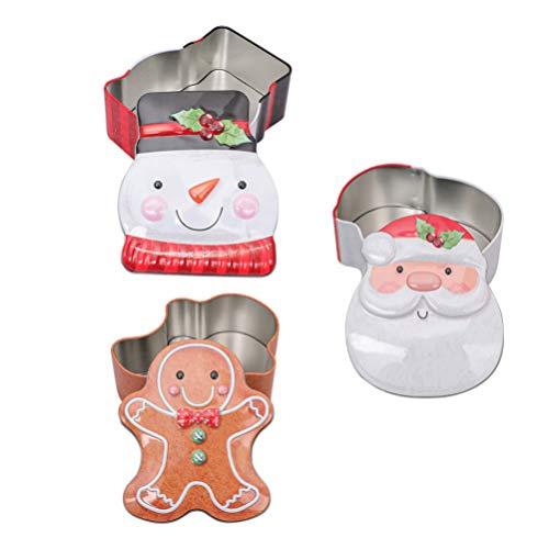 Cabilock 3 Pcs Latas de Presente de Natal Folha de Flandres de Papai Noel Caixa Vazia de Metal Natal Padaria Caixas de Petisco Chá Velas Recipientes de Biscoitos para Festas de Fim de Ano