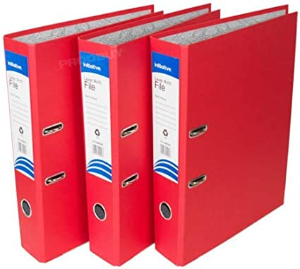 3 archivadores de palanca de polipropileno, tamaño A4, grandes, para oficina, papel, carpetas de almacenamiento [negro rojo y azul mezcla], color x3 Red A4: Amazon.es: Oficina y papelería