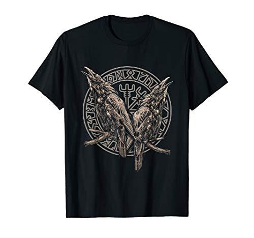 NORDISCHE MYTHOLOGIE ODINS RABEN HUGIN UND MUNIN VEGVISIR T-Shirt