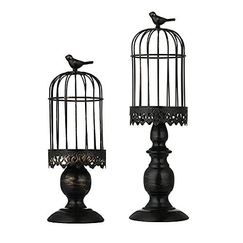 LANLONG Portavelas de jaula de pájaros, portavelas vintage, centros de mesa de boda, portavelas de hierro, para decoración del hogar (portavelas 2#)