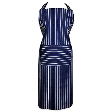 DII 100% Cotton Commercial Stripe Chef Apron with Pocket, Unisex Restaurant Kitchen Bib Apron, Adjustable Neck Strap & Waist Ties, Machine Washable, Perfect for Cooking, Baking, BBQ-Blue