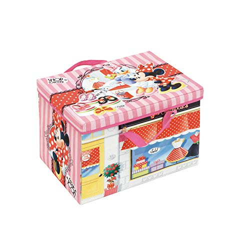 ARDITEX Box de Almacenamiento 2 en 1 con Alfombra de Juego bajo Licencia Minnie Mouse Dimensions: 41 x 31 x 28 cm, PP + cartón, 41 x 28 x 31 cm