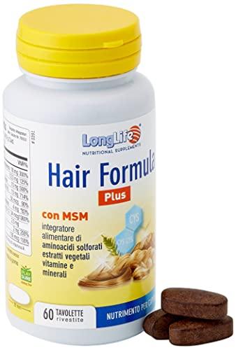 Hair Formula Plus LongLife   Integratore con MSM   60 tavolette   Salute e crescita dei capelli   con estratti vegetali   Doping Free