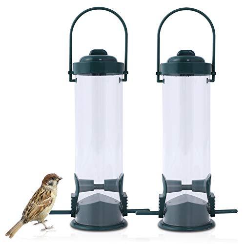 FORMIZON Vogelfutterspender, 2er-Set Vogelfutterstation mit 2 Anflugstangen, Vogelfutterstation zum Aufhängen aus Kunststoff für Wildvögel, Grün