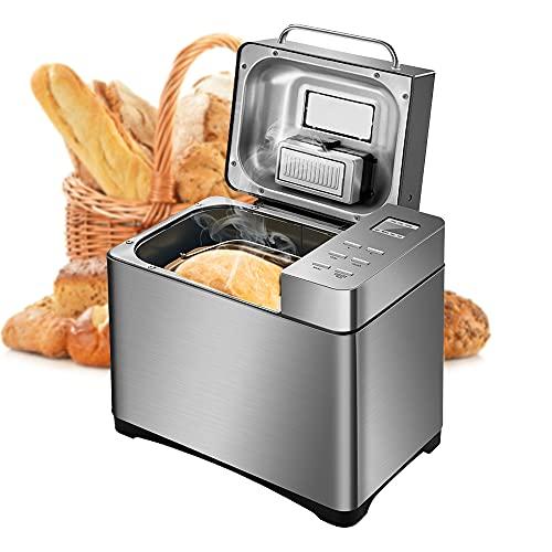 Macchina per il pane in acciaio inox, 17 programmi con dispenser di frutta e frutta, 15 ore di timing per 500 g, 750 g e 1000 g