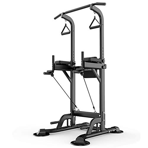 ZLMI Squat Rack Bench Barbell Ajustable Power Tower Rack Home Indoor Gym Deportes Entrenamiento De Fuerza De Peso Dip Stands Bench Fitness Equipment Ejercicio,Negro