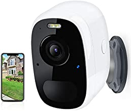 Security Camera Outdoor, HD Night Vision Home Surveillance Camera Wireless WiFi with Motion Detection, 2-Way Audio Cloud Storage Rechargeable Battery-Powered Indoor/Outdoor White