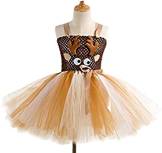 Colorful Elk Tutu Dress for Girls, Kids Birthday Party Elk Costume Outfit Pompous Skirts Dance Costumes Dresses 7-8 Years