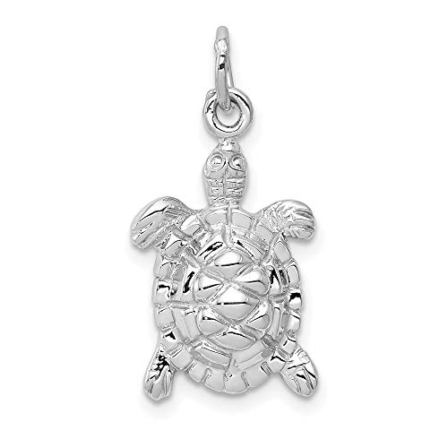 14k White Gold Solid Turtle Pendant Charm Necklace Sea Life Animal Snake Reptile Man Fine Jewelry For Dad Mens Gifts For Him